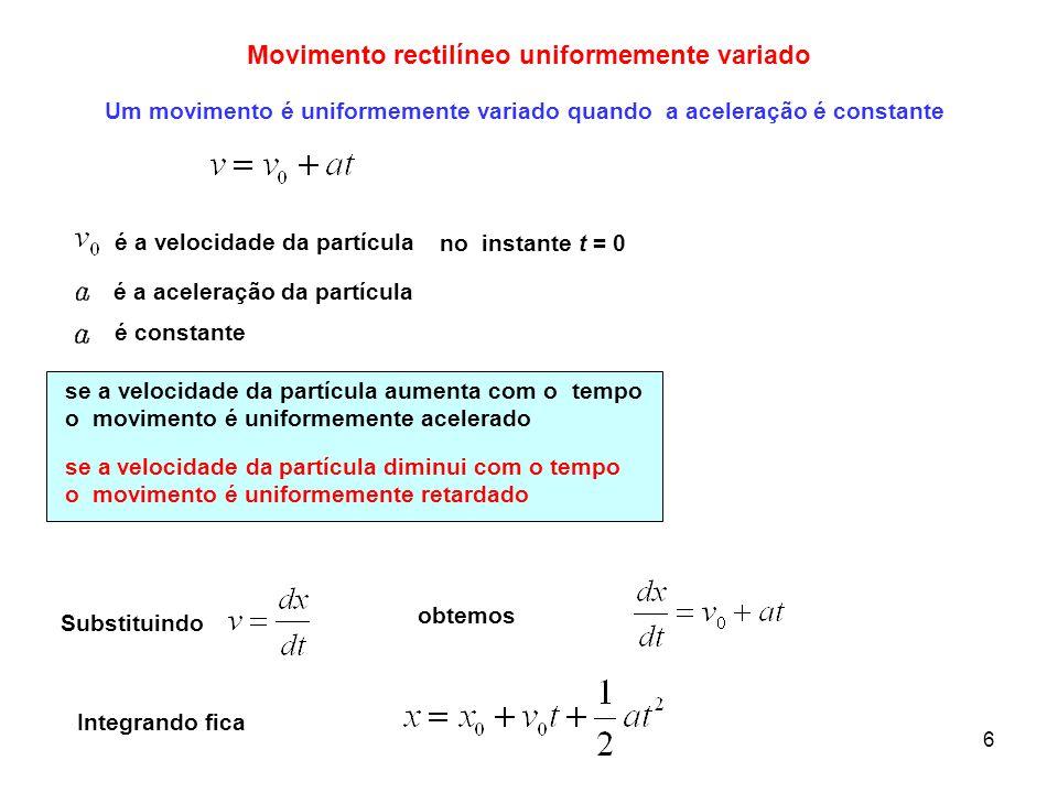 6 Movimento rectilíneo uniformemente variado Um movimento é uniformemente variado quando a aceleração é constante no instante t = 0 se a velocidade da
