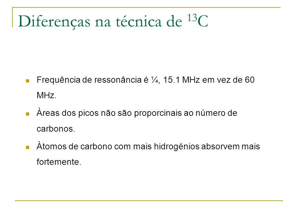 Diferenças na técnica de 13 C Frequência de ressonância é ¼, 15.1 MHz em vez de 60 MHz. Àreas dos picos não são proporcinais ao número de carbonos. Àt