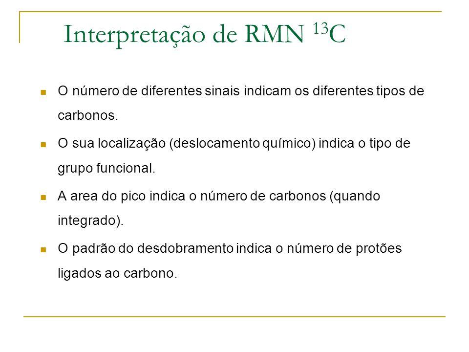 Interpretação de RMN 13 C O número de diferentes sinais indicam os diferentes tipos de carbonos. O sua localização (deslocamento químico) indica o tip