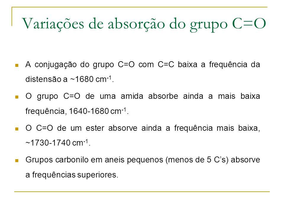 Variações de absorção do grupo C=O A conjugação do grupo C=O com C=C baixa a frequência da distensão a ~1680 cm -1. O grupo C=O de uma amida absorbe a