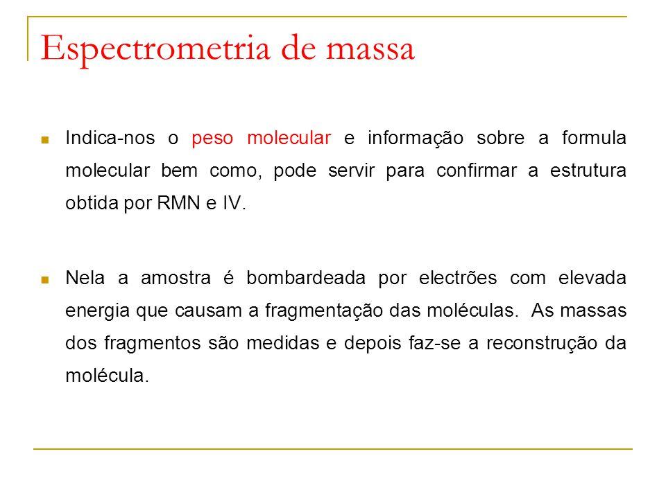 Espectrometria de massa Indica-nos o peso molecular e informação sobre a formula molecular bem como, pode servir para confirmar a estrutura obtida por