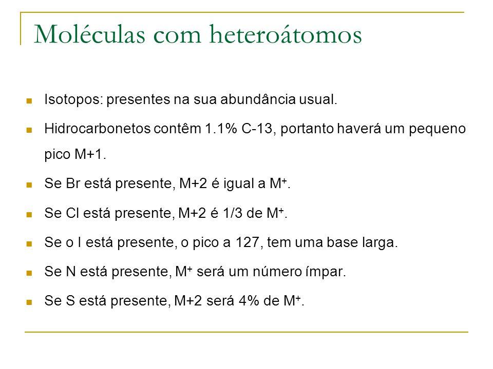 Moléculas com heteroátomos Isotopos: presentes na sua abundância usual. Hidrocarbonetos contêm 1.1% C-13, portanto haverá um pequeno pico M+1. Se Br e