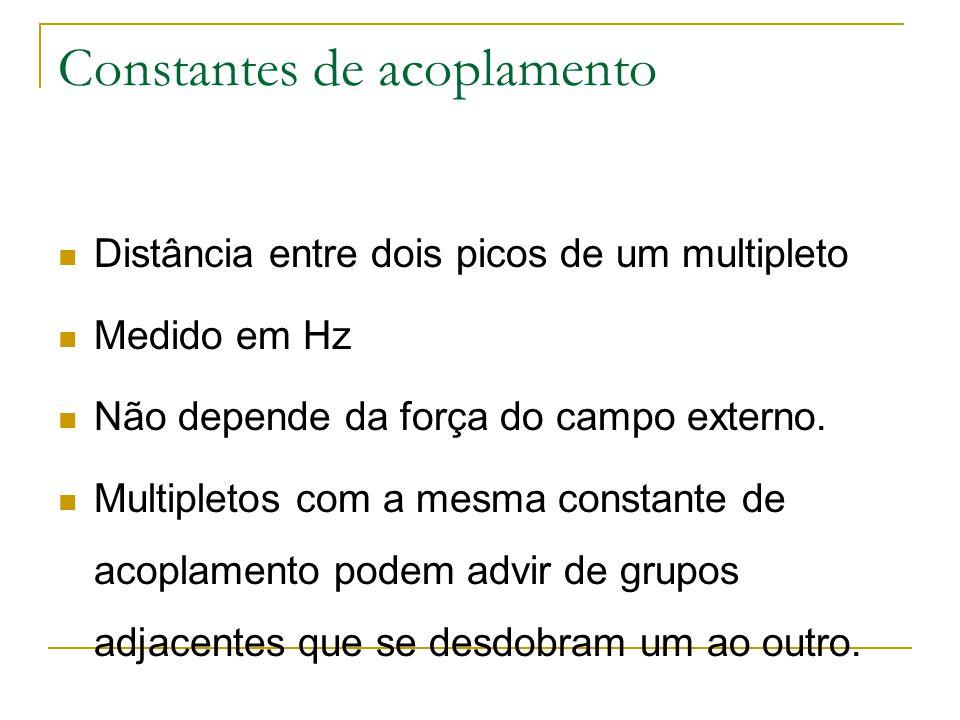 Constantes de acoplamento Distância entre dois picos de um multipleto Medido em Hz Não depende da força do campo externo. Multipletos com a mesma cons
