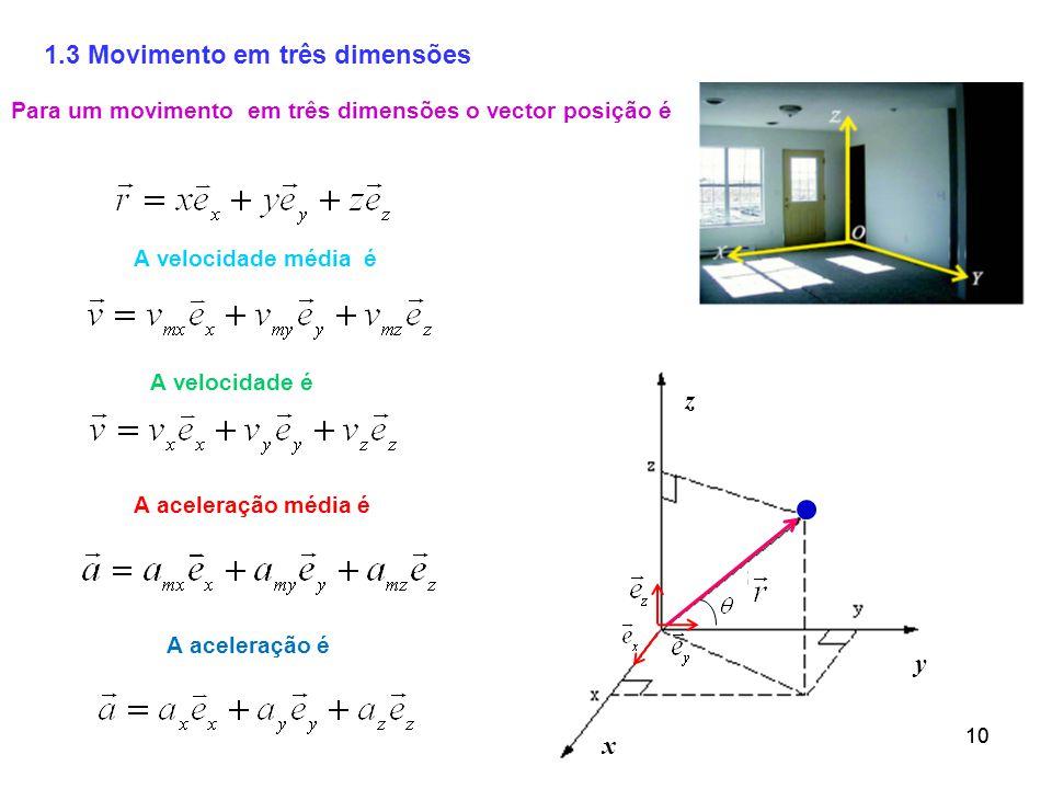 10 1.3 Movimento em três dimensões Para um movimento em três dimensões o vector posição é A velocidade é A aceleração é x z y A velocidade média é A aceleração média é