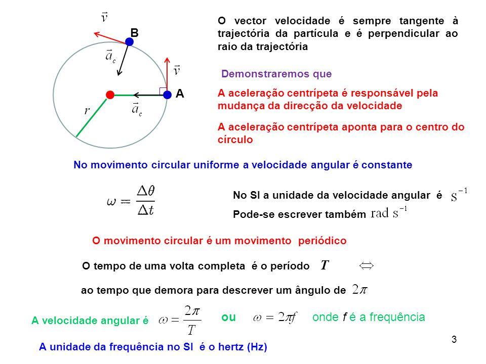 3 O movimento circular é um movimento periódico O tempo de uma volta completa é o período T ao tempo que demora para descrever um ângulo de A velocidade angular é A B No movimento circular uniforme a velocidade angular é constante A aceleração centrípeta é responsável pela mudança da direcção da velocidade O vector velocidade é sempre tangente à trajectória da partícula e é perpendicular ao raio da trajectória A aceleração centrípeta aponta para o centro do círculo No SI a unidade da velocidade angular é Pode-se escrever também Demonstraremos que r ouonde f é a frequência A unidade da frequência no SI é o hertz (Hz)