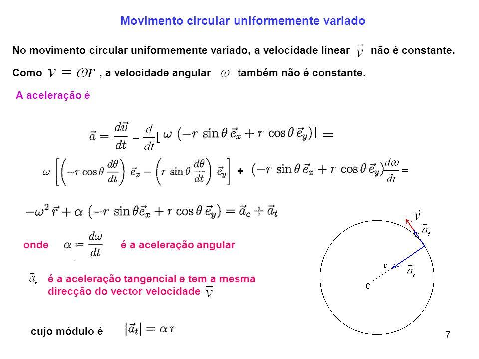 8 Módulo da aceleração total Quando a aceleração angular é constante podemos obter