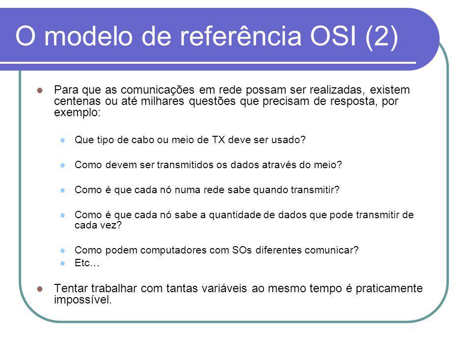 Separação em Camadas – Positivo No modelo OSI as perguntas encontram-se agrupadas em sete grupos de questões relacionadas.