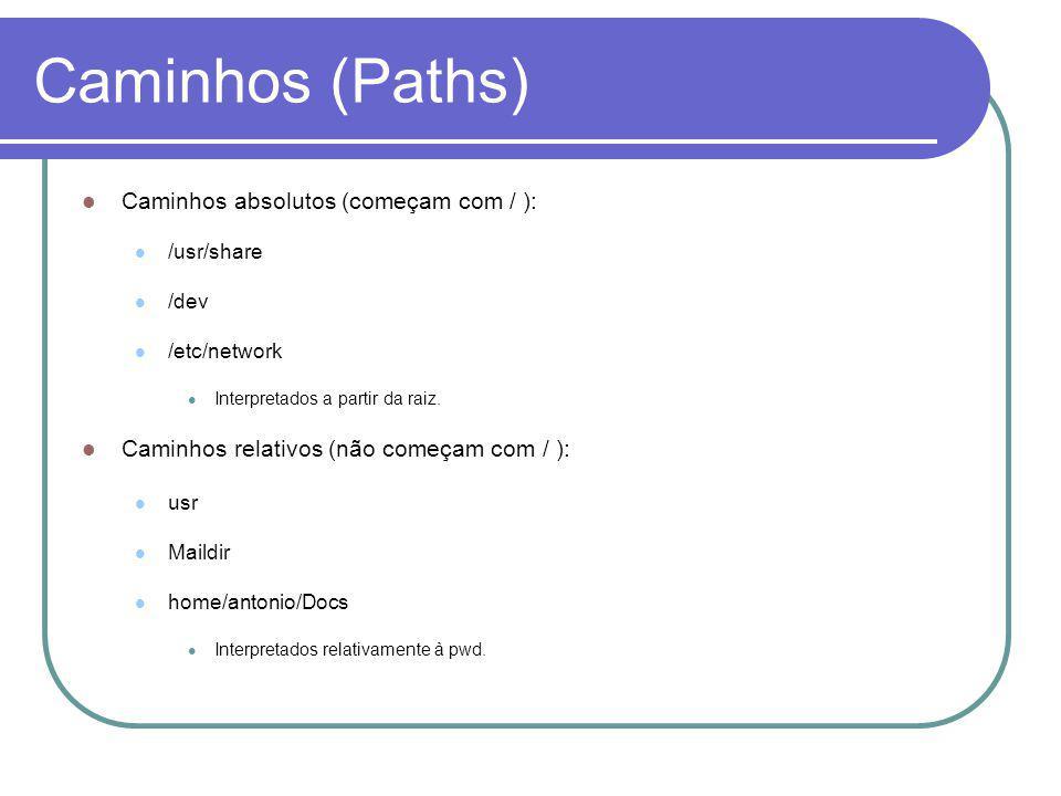 Caminhos (Paths) Caminhos absolutos (começam com / ): /usr/share /dev /etc/network Interpretados a partir da raiz.