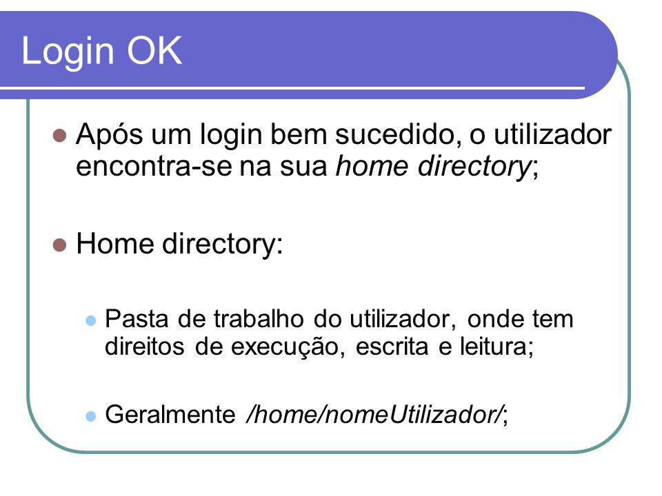 Login OK Após um login bem sucedido, o utilizador encontra-se na sua home directory; Home directory: Pasta de trabalho do utilizador, onde tem direitos de execução, escrita e leitura; Geralmente /home/nomeUtilizador/;