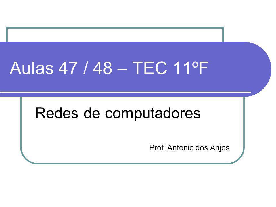 Aulas 47 / 48 – TEC 11ºF Redes de computadores Prof. António dos Anjos