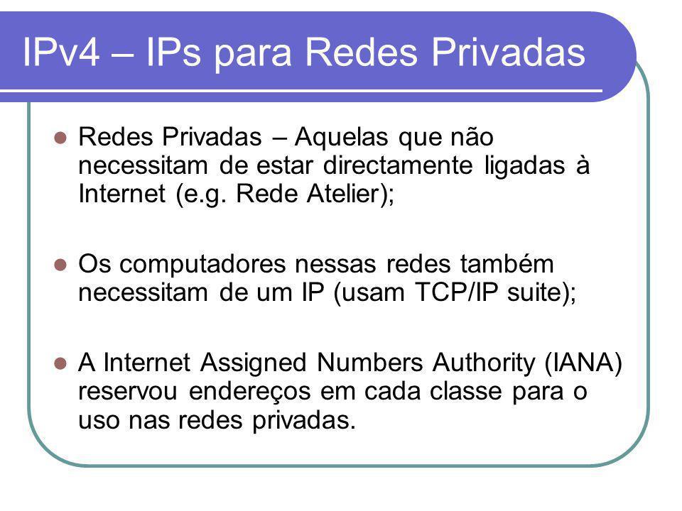 IPv4 – IPs para Redes Privadas Redes Privadas – Aquelas que não necessitam de estar directamente ligadas à Internet (e.g.