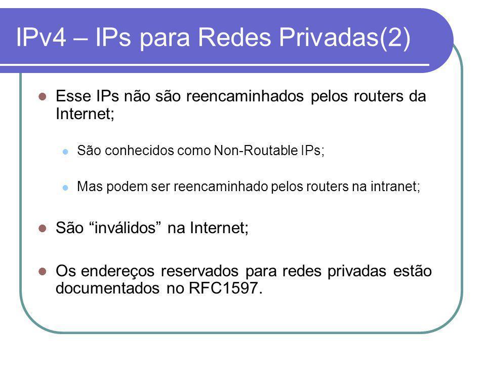 IPv4 – IPs para Redes Privadas(2) Esse IPs não são reencaminhados pelos routers da Internet; São conhecidos como Non-Routable IPs; Mas podem ser reencaminhado pelos routers na intranet; São inválidos na Internet; Os endereços reservados para redes privadas estão documentados no RFC1597.