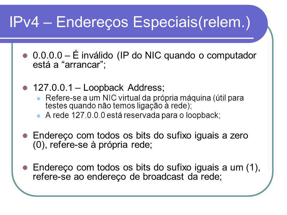 IPv4 – Endereços Especiais(relem.) 0.0.0.0 – É inválido (IP do NIC quando o computador está a arrancar; 127.0.0.1 – Loopback Address; Refere-se a um NIC virtual da própria máquina (útil para testes quando não temos ligação à rede); A rede 127.0.0.0 está reservada para o loopback; Endereço com todos os bits do sufixo iguais a zero (0), refere-se à própria rede; Endereço com todos os bits do sufixo iguais a um (1), refere-se ao endereço de broadcast da rede;