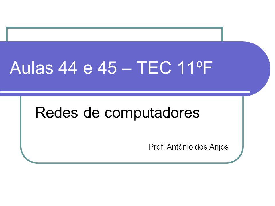 Aulas 44 e 45 – TEC 11ºF Redes de computadores Prof. António dos Anjos