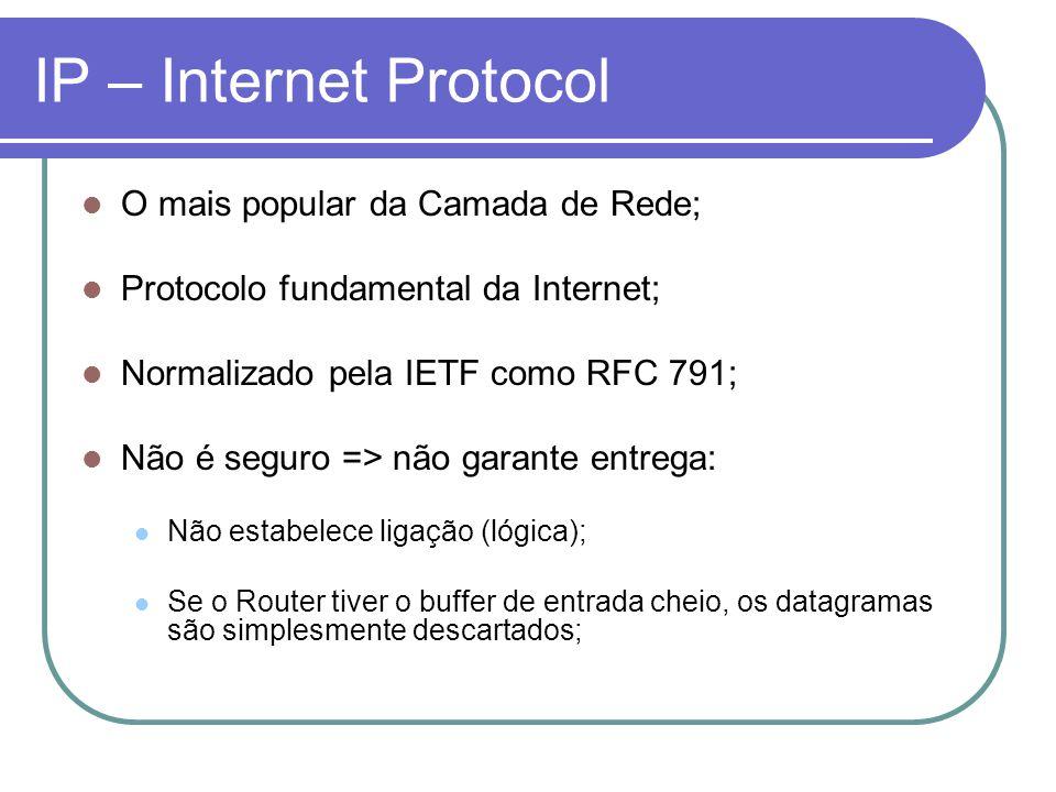 IP – Internet Protocol O mais popular da Camada de Rede; Protocolo fundamental da Internet; Normalizado pela IETF como RFC 791; Não é seguro => não ga