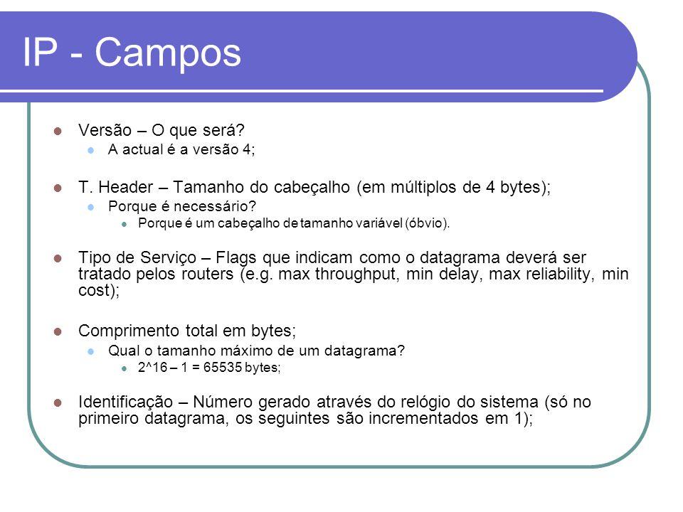 IP - Campos Versão – O que será? A actual é a versão 4; T. Header – Tamanho do cabeçalho (em múltiplos de 4 bytes); Porque é necessário? Porque é um c