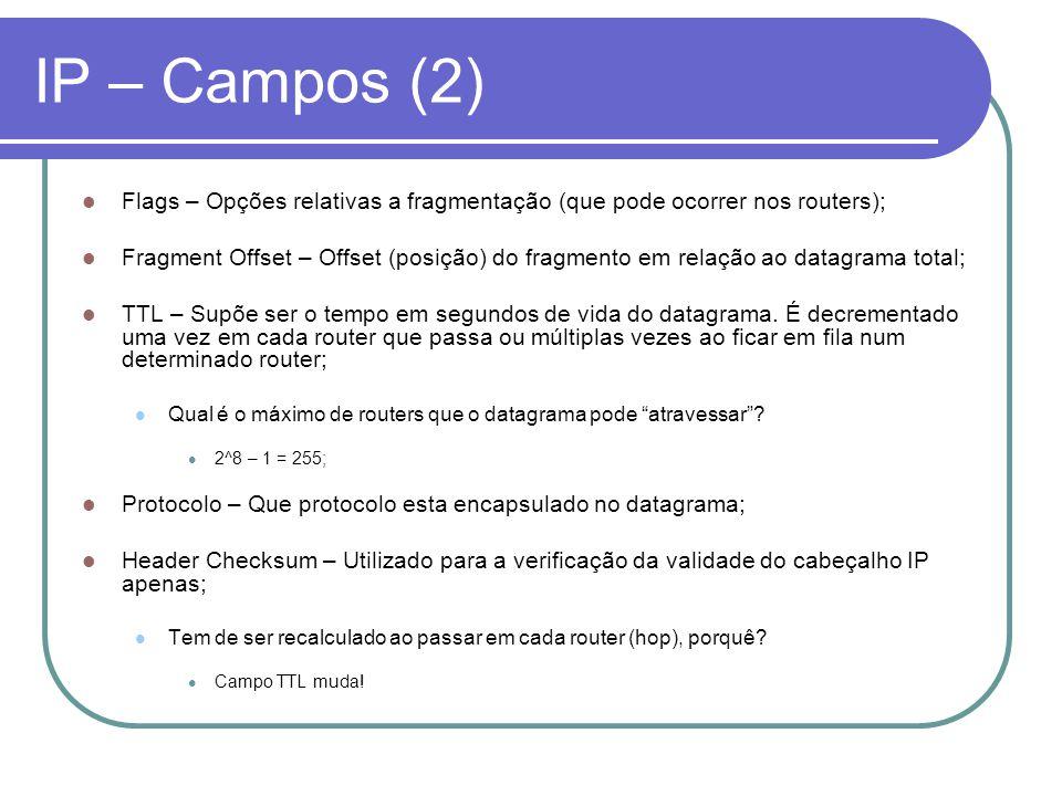 IP – Campos (2) Flags – Opções relativas a fragmentação (que pode ocorrer nos routers); Fragment Offset – Offset (posição) do fragmento em relação ao
