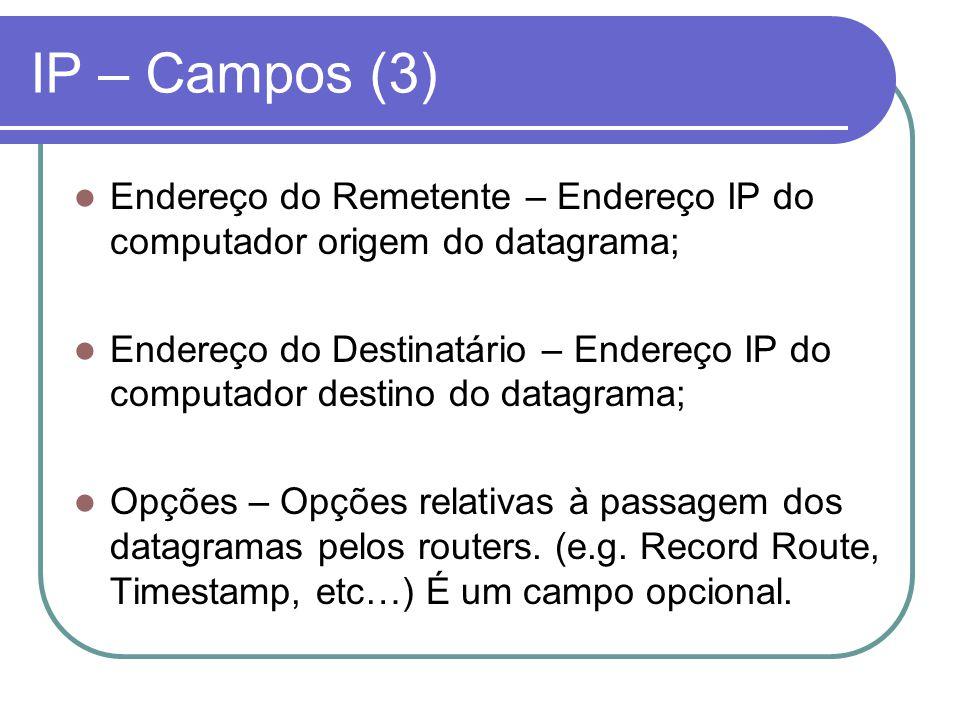 IP – Campos (3) Endereço do Remetente – Endereço IP do computador origem do datagrama; Endereço do Destinatário – Endereço IP do computador destino do