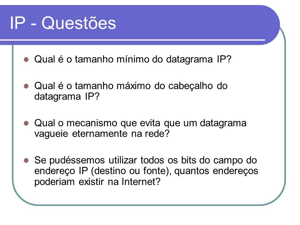 IP - Questões Qual é o tamanho mínimo do datagrama IP? Qual é o tamanho máximo do cabeçalho do datagrama IP? Qual o mecanismo que evita que um datagra