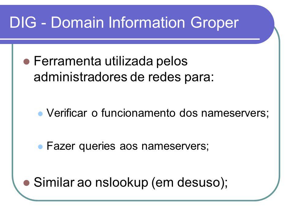 DIG - Domain Information Groper Ferramenta utilizada pelos administradores de redes para: Verificar o funcionamento dos nameservers; Fazer queries aos nameservers; Similar ao nslookup (em desuso);