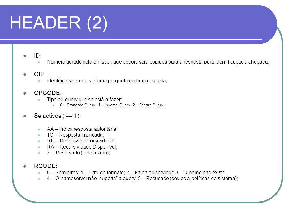 HEADER (2) ID: Número gerado pelo emissor, que depois será copiada para a resposta para identificação à chegada; QR: Identifica se a query é uma pergunta ou uma resposta; OPCODE: Tipo de query que se está a fazer: 0 – Standard Query; 1 – Inverse Query; 2 – Status Query; Se activos ( == 1): AA – Indica resposta autoritária; TC – Resposta Truncada; RD – Deseja-se recursividade; RA – Recursividade Disponível; Z – Reservado (tudo a zero); RCODE: 0 – Sem erros; 1 – Erro de formato; 2 – Falha no servidor; 3 – O nome não existe; 4 – O nameserver não suporta a query; 5 – Recusado (devido a políticas de sistema);