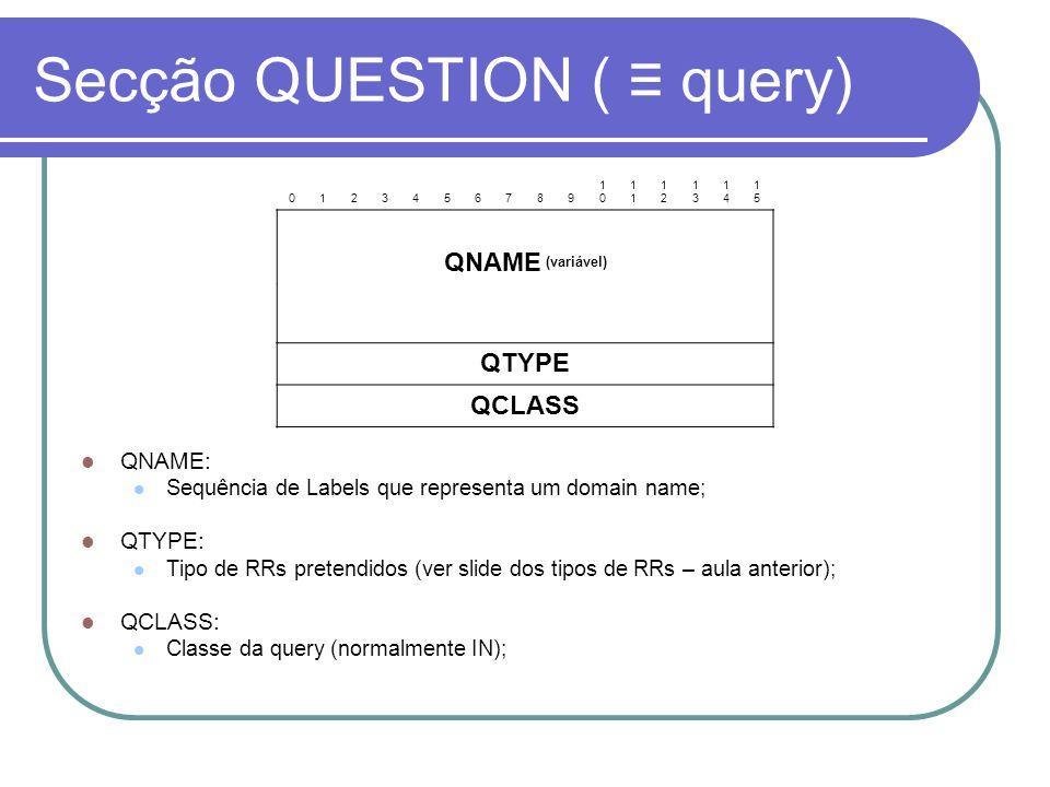 Secção QUESTION ( query) 0123456789 10101 1212 1313 1414 1515 QNAME (variável) QTYPE QCLASS QNAME: Sequência de Labels que representa um domain name; QTYPE: Tipo de RRs pretendidos (ver slide dos tipos de RRs – aula anterior); QCLASS: Classe da query (normalmente IN);