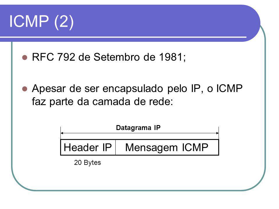 ICMP (2) RFC 792 de Setembro de 1981; Apesar de ser encapsulado pelo IP, o ICMP faz parte da camada de rede: Mensagem ICMPHeader IP 20 Bytes Datagrama IP