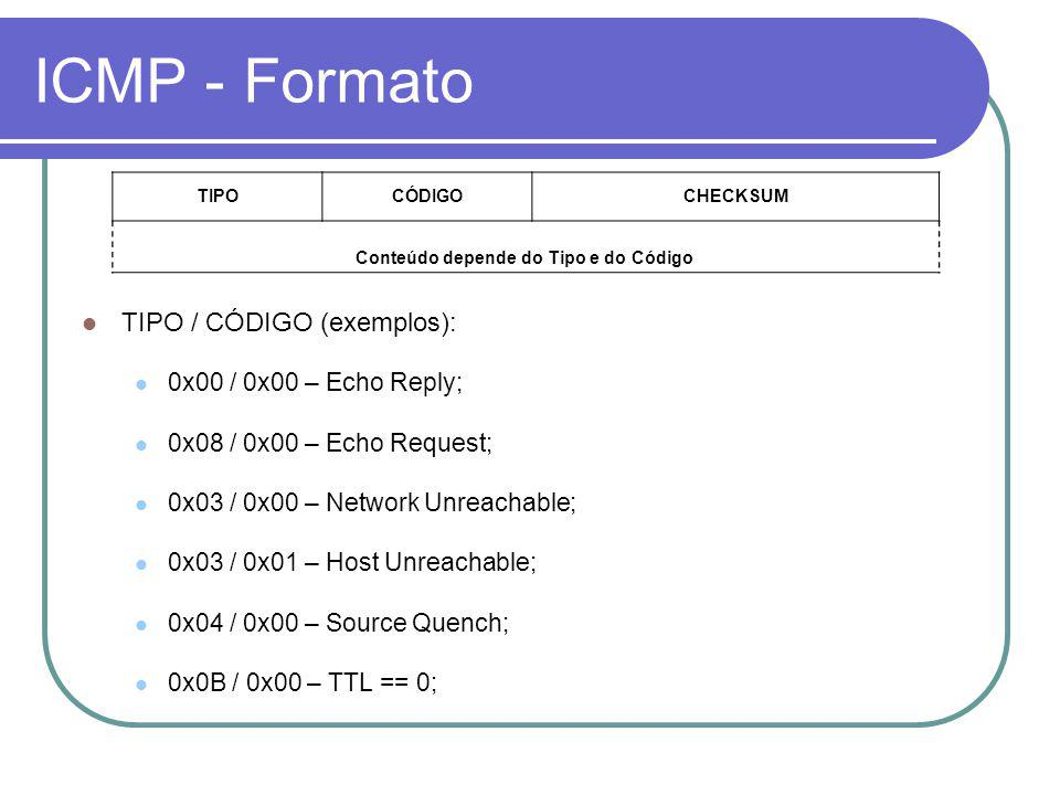 ICMP - Formato TIPOCÓDIGOCHECKSUM Conteúdo depende do Tipo e do Código TIPO / CÓDIGO (exemplos): 0x00 / 0x00 – Echo Reply; 0x08 / 0x00 – Echo Request; 0x03 / 0x00 – Network Unreachable; 0x03 / 0x01 – Host Unreachable; 0x04 / 0x00 – Source Quench; 0x0B / 0x00 – TTL == 0;