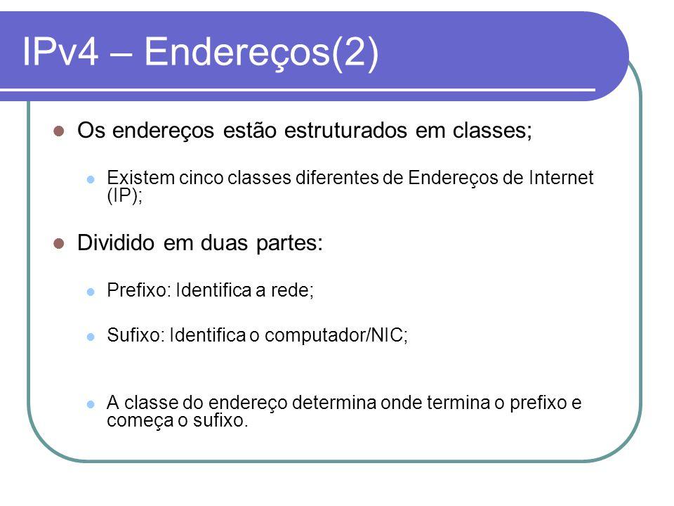 IPv4 – Endereços(2) Os endereços estão estruturados em classes; Existem cinco classes diferentes de Endereços de Internet (IP); Dividido em duas parte