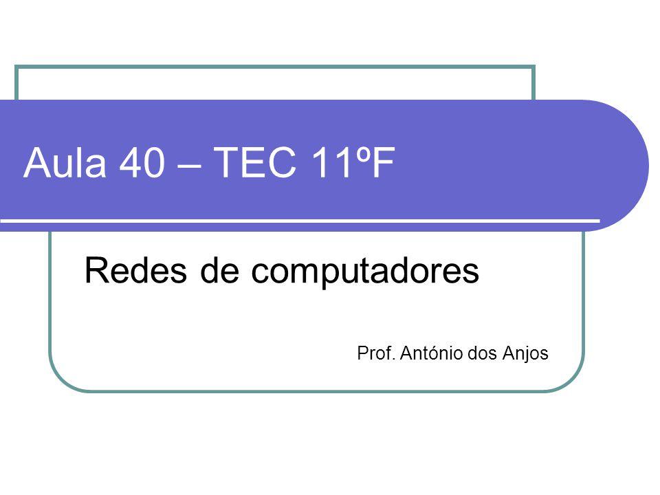 Aula 40 – TEC 11ºF Redes de computadores Prof. António dos Anjos