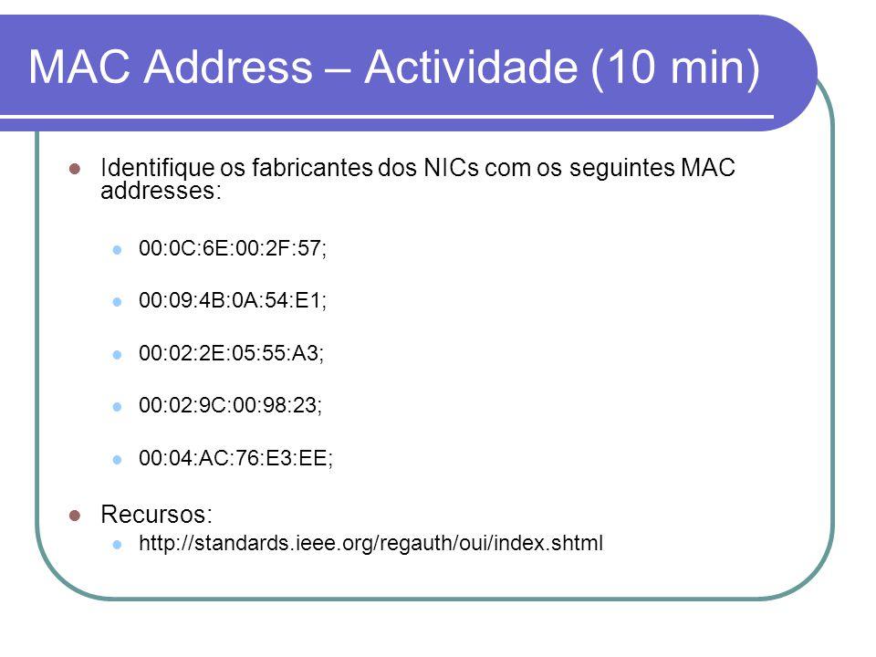MAC Address – Actividade (10 min) Identifique os fabricantes dos NICs com os seguintes MAC addresses: 00:0C:6E:00:2F:57; 00:09:4B:0A:54:E1; 00:02:2E:05:55:A3; 00:02:9C:00:98:23; 00:04:AC:76:E3:EE; Recursos: http://standards.ieee.org/regauth/oui/index.shtml