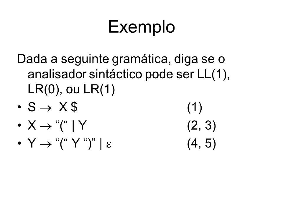 Exemplo Dada a seguinte gramática, diga se o analisador sintáctico pode ser LL(1), LR(0), ou LR(1) S X $(1) X ( | Y(2, 3) Y ( Y ) | (4, 5)