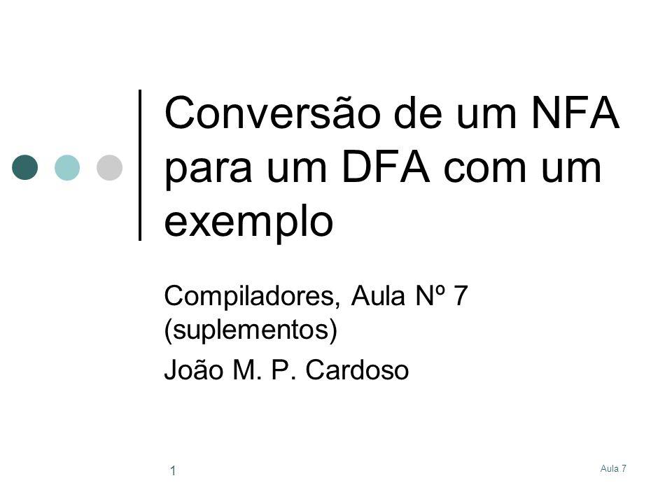 Aula 7 2 NFA para DFA NFA para (0 | 1)*.(0 | 1)* 12 3 4 5 6 1 0 7 8 910 11 12 13 14 1 0 15 16.