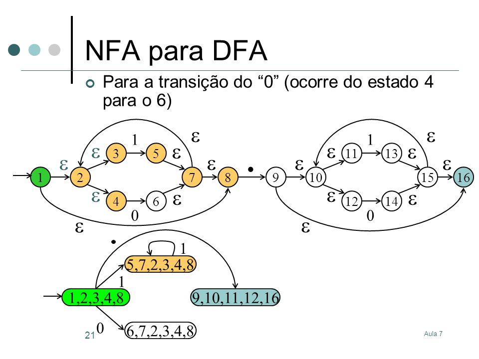 Aula 7 21 NFA para DFA Para a transição do 0 (ocorre do estado 4 para o 6) 12 3 4 5 6 1 0 7 8 910 11 12 13 14 1 0 15 16.