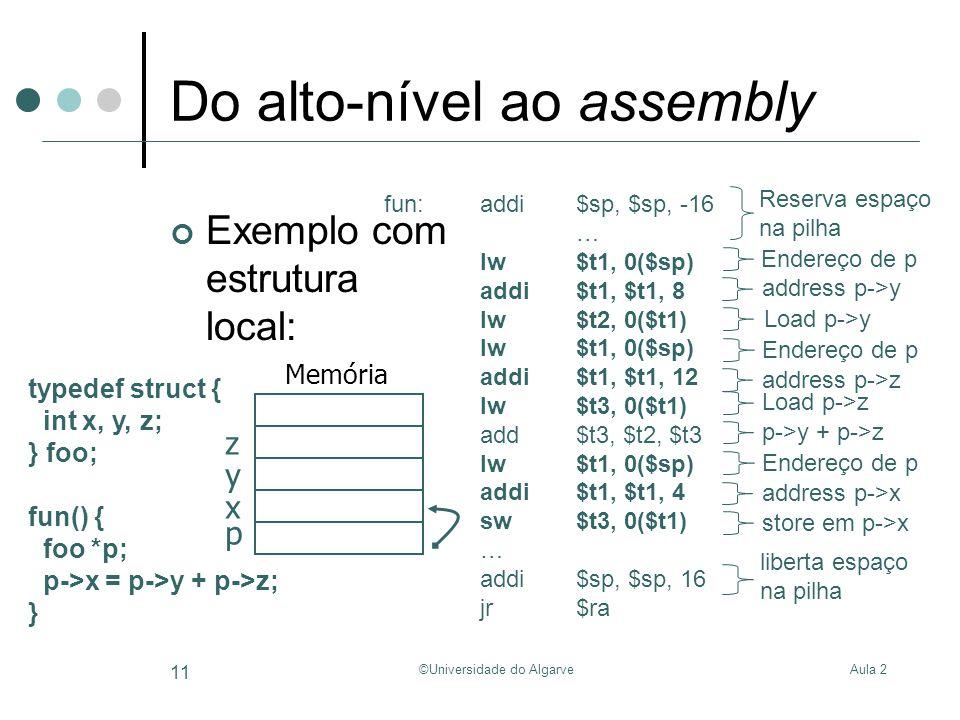 Aula 2©Universidade do Algarve 11 Do alto-nível ao assembly Exemplo com estrutura local: typedef struct { int x, y, z; } foo; fun() { foo *p; p->x = p