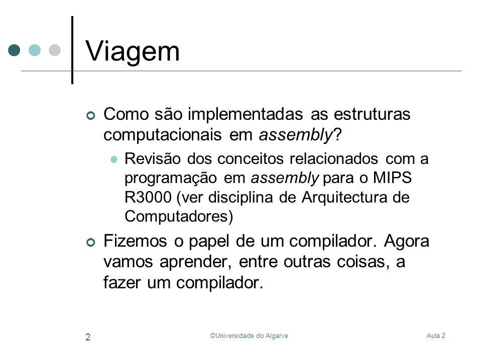 Aula 2©Universidade do Algarve 3 Do alto-nível ao assembly Alvo: MIPS R3000 Int sum(int A[], int N) { Int i, sum = 0; For(i=0; i<N; i++) { sum = sum + A[i]; } return sum; } # $a0 armazena o endereço de A[0] # $a1 armazena o valor de N Sum:Addi$t0, $0, 0# i = 0 Addi $v0, $0, 0# sum = 0 Loop:beq$t0, $a1, End# if(i == 10) goto End; Add$t1, $t0, $t0# 2*i Add$t1, $t1, $t1# 2*(2*i) = 4*i Add$t1, $t1, $a0# 4*i + base(A) Lw$t2, 0($t1)# load A[i] Add$v0, $v0, $t2# sum = sum + A[i] Addi$t0, $t0, 1# i++ JLoop# goto Loop; End:jr $ra# return