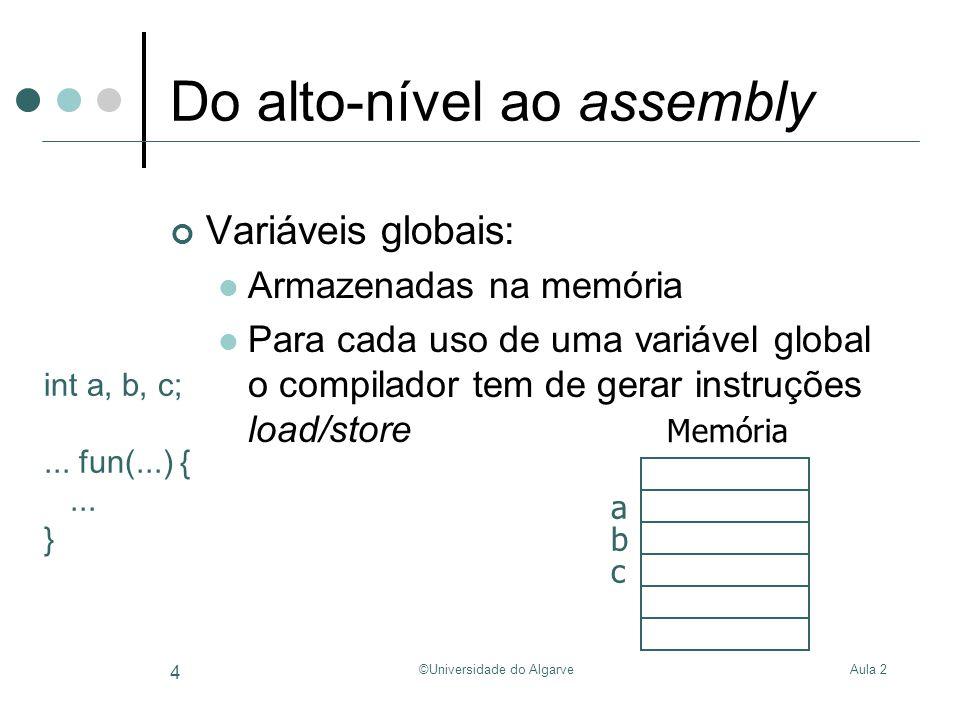 Aula 2©Universidade do Algarve 5 Variáveis Globais Int a, b, c; void fun() { c = a + b; }.data 0x10000000 a:.space4 b:.space4 c:.space4.text fun:… la$t1, a lw$t1, 0($t1) la$t2, b lw$t2, 0($t2) add$t3, $t2, $t1 la$t4, c sw$t3, 0($t4) … 0x10000008 0x10000004 0x10000000 Alocação de memória Memória a b c