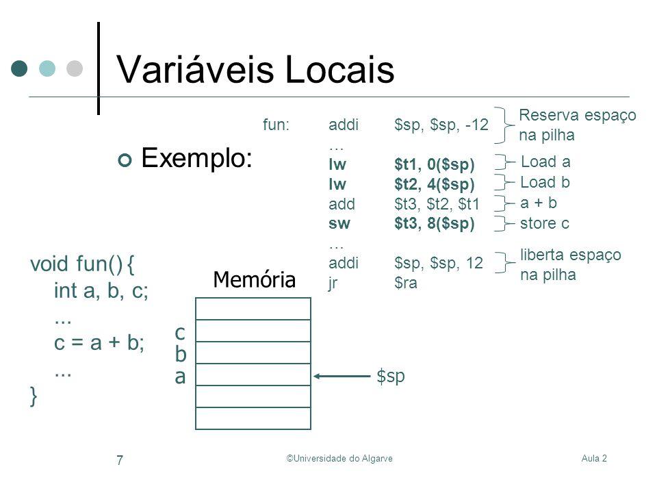 Aula 2©Universidade do Algarve 7 Variáveis Locais Exemplo: void fun() { int a, b, c;... c = a + b;... } fun:addi$sp, $sp, -12 … lw$t1, 0($sp) lw$t2, 4