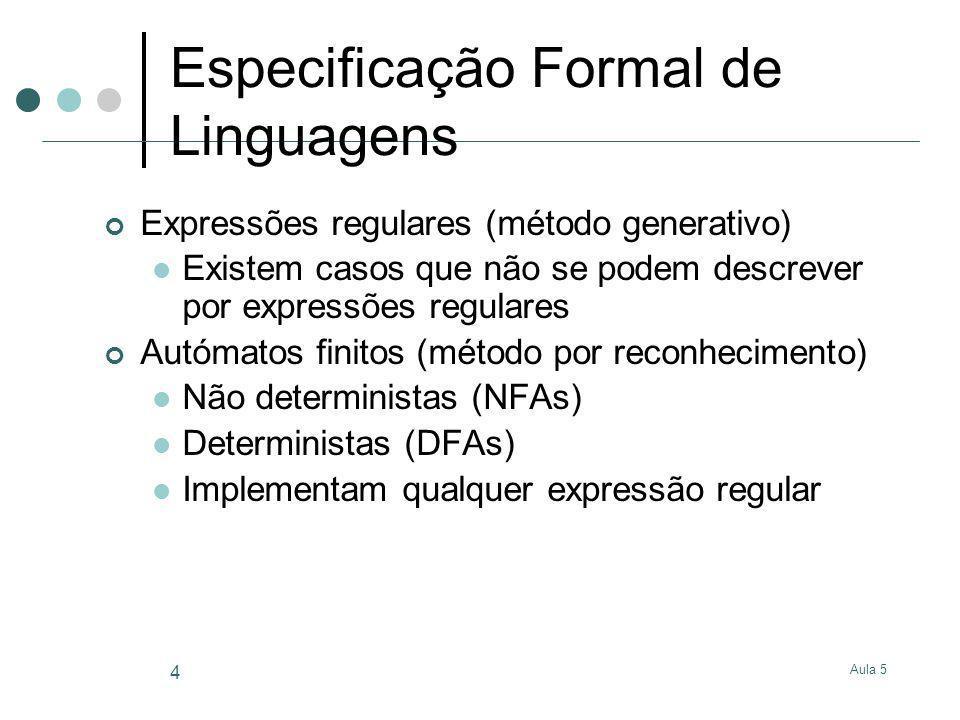 Aula 5 5 Especificação de Estruturas Lexicais utilizando Expressões regulares Dado um vocabulário/alfabeto = conjunto de símbolos Expressões regulares são construídas com: - string vazia Qualquer símbolo do alfabeto r 1 r 2 – expressão regular r 1 seguida de r 2 (sequência): concatenação (às vezes utiliza- se o.) r 1 | r 2 – expressão regular r 1 ou r 2 (selecção) r* - sequência iterativa ou selecção | r | rr | … Parêntesis para indicar precedências Prioridade: *,., |
