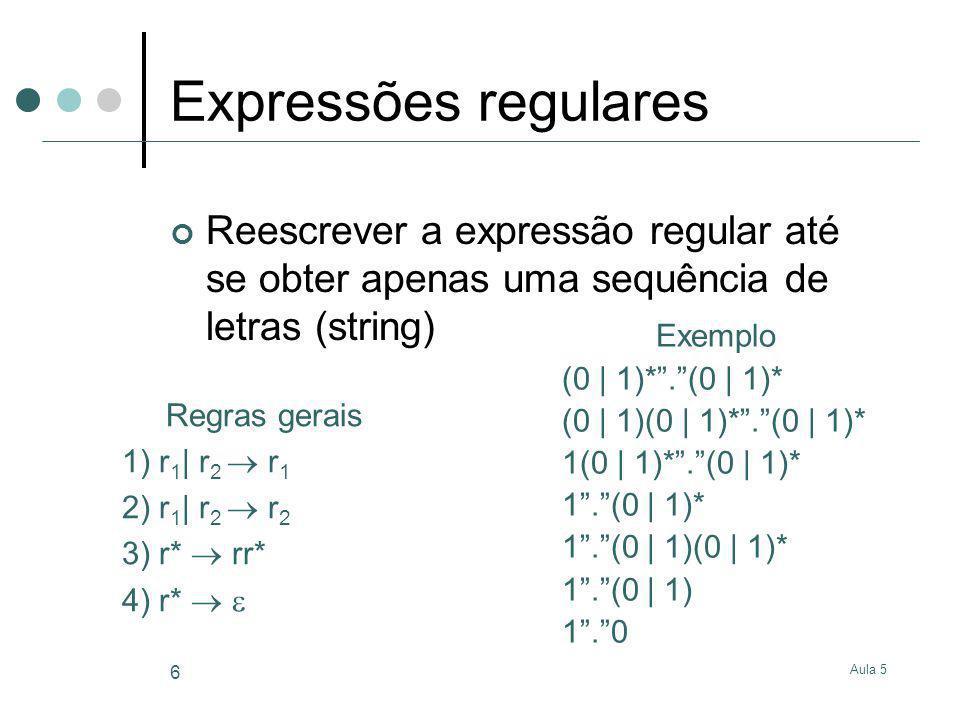 Aula 5 7 Não determinismo na geração Diferente aplicação de regras pode conduzir a resultados finais diferentes Exemplo 1 (0 | 1)*.(0 | 1)* (0 | 1)(0 | 1)*.(0 | 1)* 1(0 | 1)*.(0 | 1)* 1.(0 | 1)* 1.(0 | 1)(0 | 1)* 1.(0 | 1) 1.0 Exemplo 2 (0 | 1)*.(0 | 1)* (0 | 1)(0 | 1)*.(0 | 1)* 0(0 | 1)*.(0 | 1)* 0.(0 | 1)* 0.(0 | 1)(0 | 1)* 0.(0 | 1) 0.1