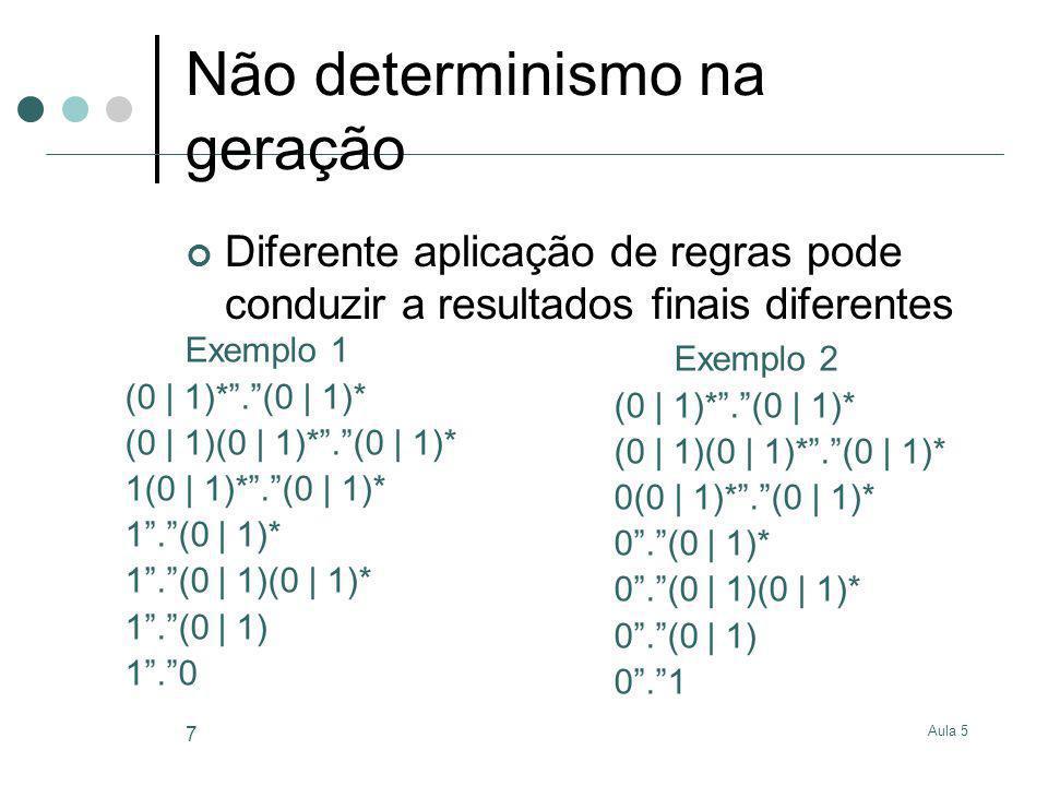 Aula 5 7 Não determinismo na geração Diferente aplicação de regras pode conduzir a resultados finais diferentes Exemplo 1 (0 | 1)*.(0 | 1)* (0 | 1)(0