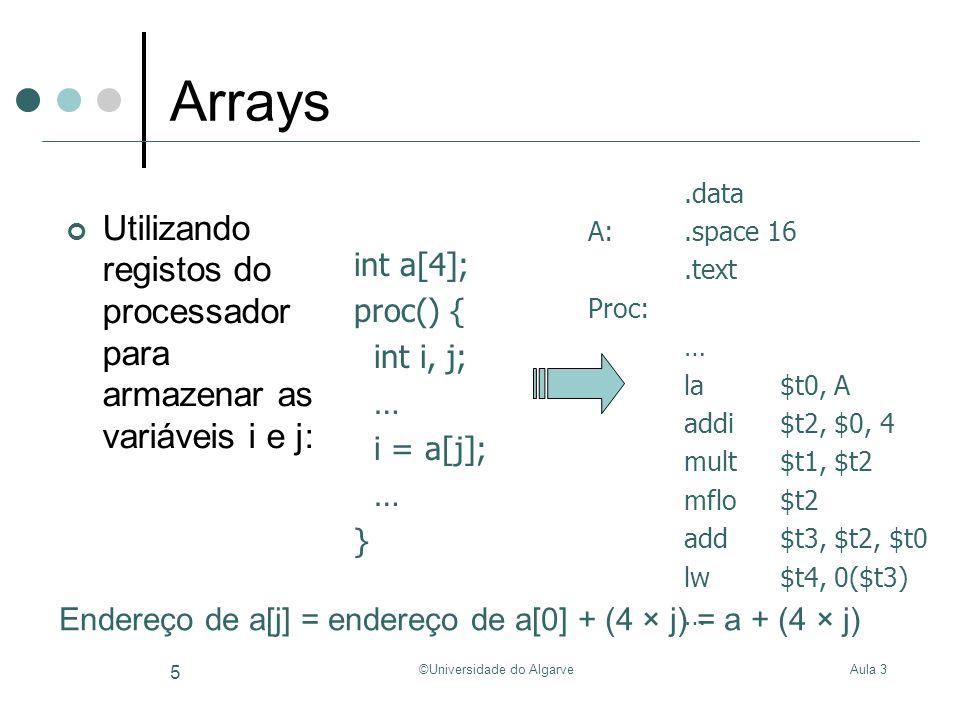 Aula 3©Universidade do Algarve 6 Expressões a = b * c + d – e; a em $t4; b em $t0; c em $t1; d em $t2; e em $t3 … mult$t0, $t1 mflo$t4 sub$t5, $t2, $t3 add$t4, $t4, $t5 … mult$t0, $t1 mflo$t4 add$t4, $t4, $t2 sub$t4, $t4, $t3 …
