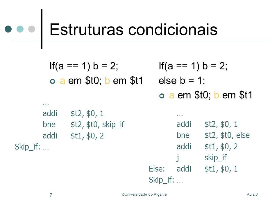 Aula 3©Universidade do Algarve 7 Estruturas condicionais If(a == 1) b = 2; a em $t0; b em $t1 If(a == 1) b = 2; else b = 1; a em $t0; b em $t1 … addi$t2, $0, 1 bne$t2, $t0, skip_if addi$t1, $0, 2 Skip_if:… … addi$t2, $0, 1 bne$t2, $t0, else addi$t1, $0, 2 jskip_if Else:addi$t1, $0, 1 Skip_if:…