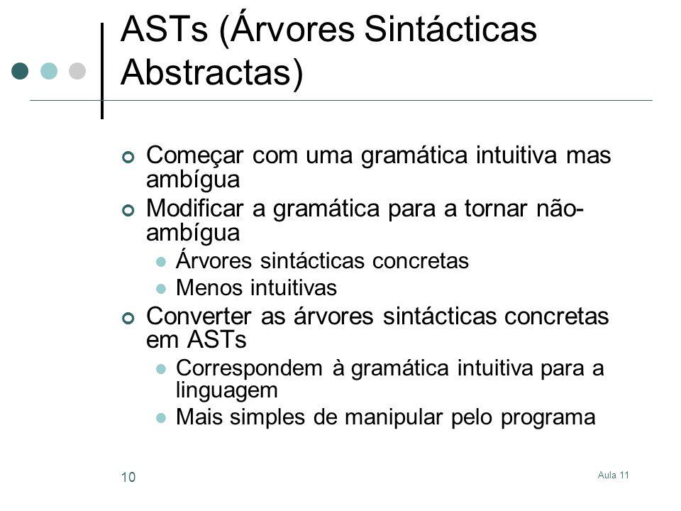Aula 11 10 ASTs (Árvores Sintácticas Abstractas) Começar com uma gramática intuitiva mas ambígua Modificar a gramática para a tornar não- ambígua Árvo