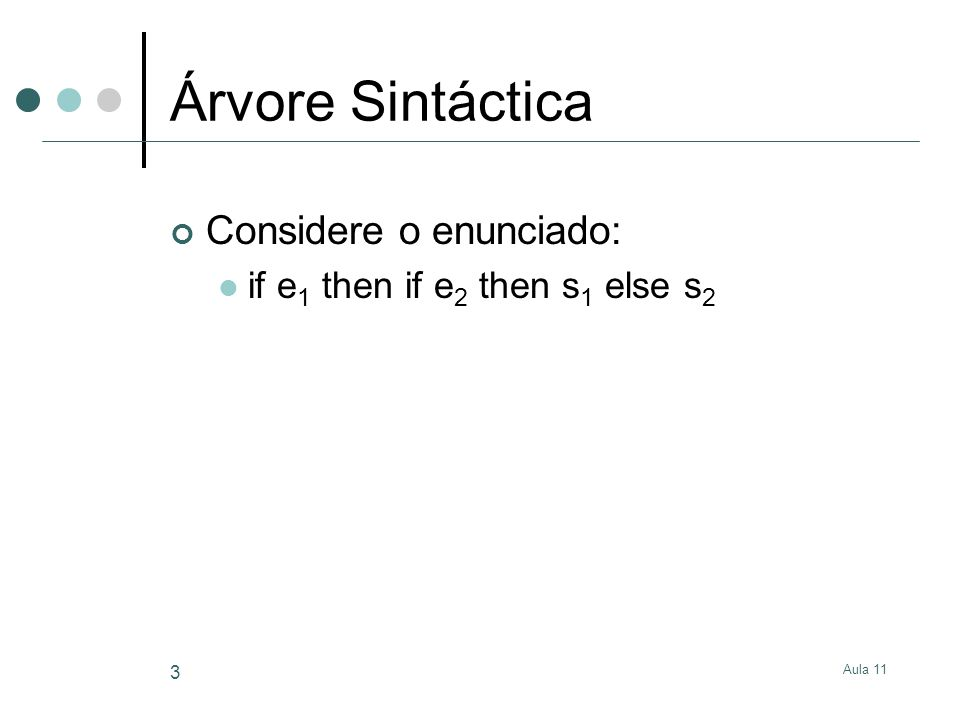Aula 11 4 Árvore Sintáctica Duas Árvores Sintácticas Stat IF Expr Stat IF ExprStat ELSE e1 e2 Stat s1s2 IF Expr Stat IF ExprStat ELSE e2 e1 Stat s1 s2 Qual é a correcta.