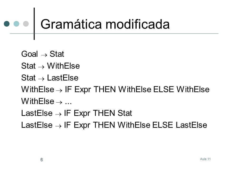 Aula 11 7 Gramática modificada Ideia básica: controlar quando um IF sem ELSE pode ocorrer No nível de topo do enunciado Ou como último numa sequência de enunciados if then else if then...