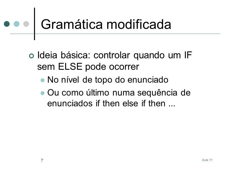 Aula 11 7 Gramática modificada Ideia básica: controlar quando um IF sem ELSE pode ocorrer No nível de topo do enunciado Ou como último numa sequência