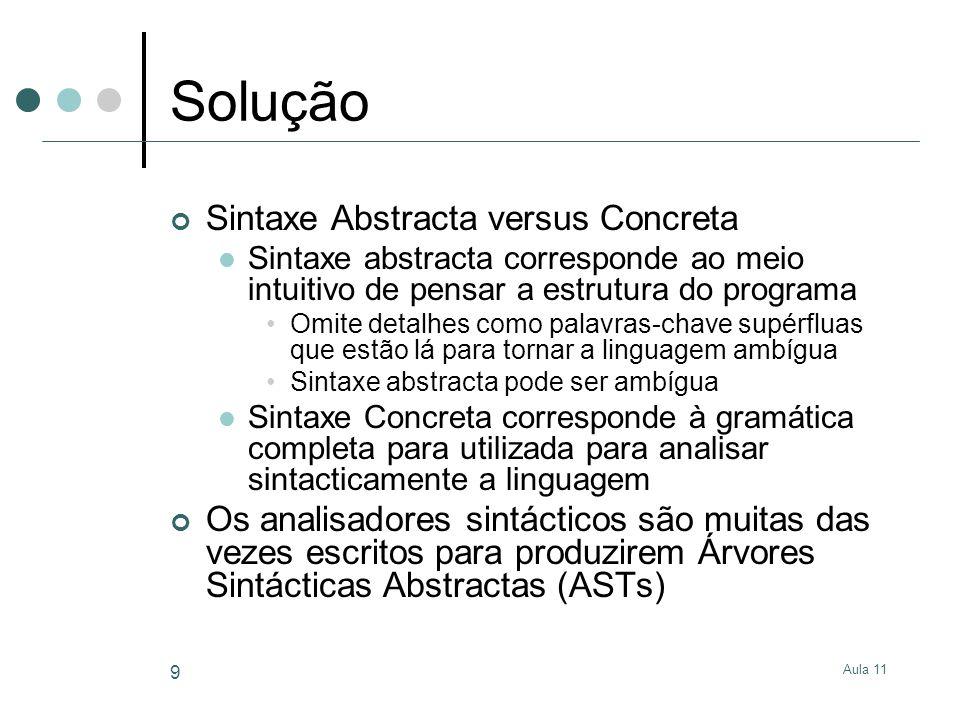 Aula 11 9 Solução Sintaxe Abstracta versus Concreta Sintaxe abstracta corresponde ao meio intuitivo de pensar a estrutura do programa Omite detalhes c