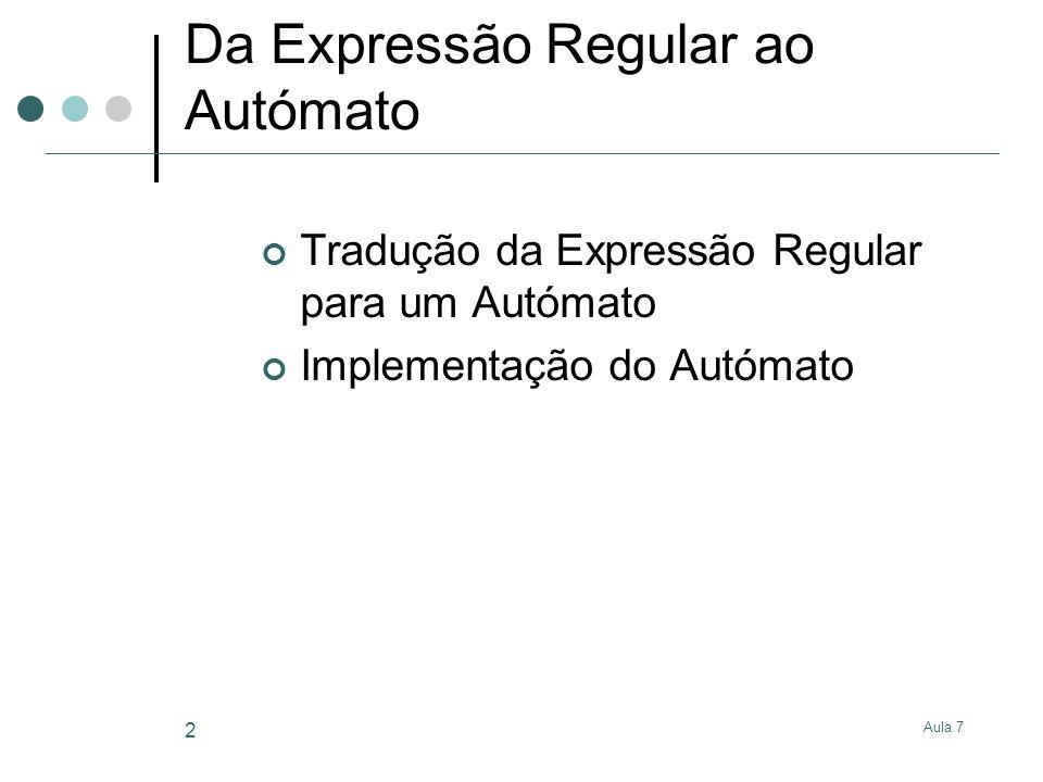 Aula 7 2 Da Expressão Regular ao Autómato Tradução da Expressão Regular para um Autómato Implementação do Autómato
