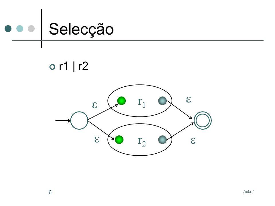 Aula 7 6 Selecção r1 | r2 r1r1 r2r2